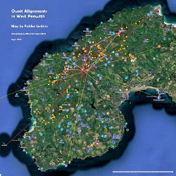 Map of Alignments passing through Quoits in West Penwith, Cornwall