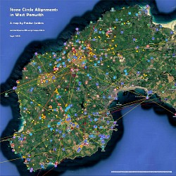 Map of Ancient Site Alignments passing through Stone Circles in West Penwith, Cornwall