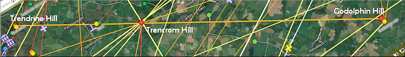 Godolphin Hill, Trencrom Hill and Trendrine Hill alignment