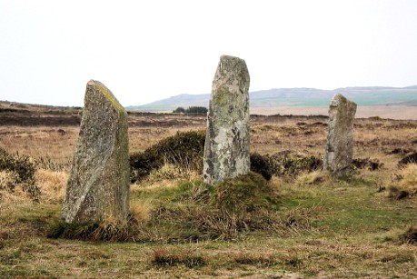 The Nine Maidens stone circle, with Zennor Hill behind