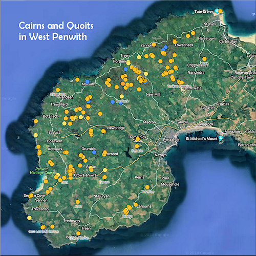 Map of the Cairns and Quoits of West Penwith
