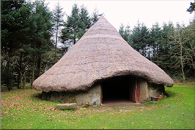 Bodrifty reconstructed iron age round hut